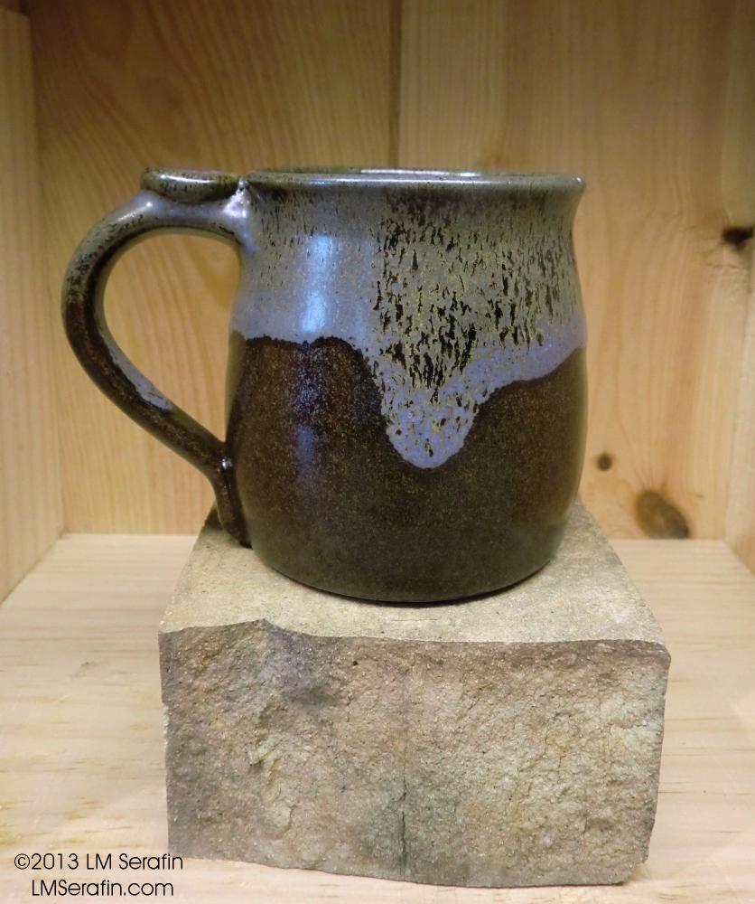 brown and blue mug